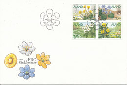 ALAND FDC 3-2-1997 Spring Flowers Complete Set Of 4 In Block With Cachet - Aland
