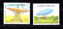 Sao Tome En Principe 1983 Mi Nr 827 + 828 BRASILIANA '83, Rio De Janeiro.. 200 Jaar Luchtvaart - Sao Tome En Principe