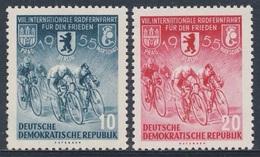 DDR Germany 1955 Mi 470 /1 YT 198 /9 ** Cyclists – 8th Int. Warsaw-Berlin-Prague Peace Cycle Race / Int. Radrennfahrt - Wielrennen