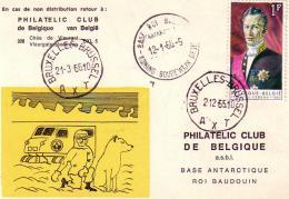 Philatelic Club De Belgique Base Antarctique Roi Baudouin Circulée En 1965 - België