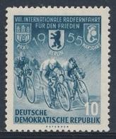 DDR Germany 1955 Mi 470 YT 198 * MH - Cyclists – 8th Int. Warsaw-Berlin-Prague Peace Cycle Race / Int. Radrennfahrt - Wielrennen