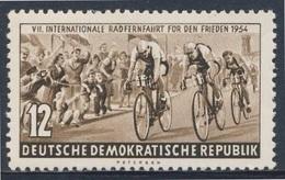 DDR Germany 1954 Mi 426 YT 164 * MH - Cyclists – 7th Int. Warsaw-Berlin-Prague Peace Cycle Race / Radrennfahrer - Wielrennen