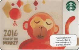 Thailand Starbucks Card  Chin New Year Monkey - 2015 - 6115 - Gift Cards
