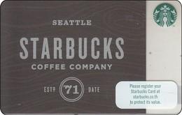 Thailand Starbucks Card  Starbucks Seattle Company 2016 - 6136 - Gift Cards