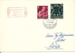 Liechtenstein Postcard Sent To Switzerland Nendeln 1-2-1960 Stamp Exhibition - Liechtenstein