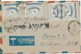 Poland Air Mail Cover Sent To USA 13-12-1950 - Poste Aérienne