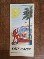 Cote D'Azur Illustré Par Hervé Baille - Nice, Cannes, Marseille, Saint Raphael, Corse, Grenoble, Chamonix Autocars SNCF - Dépliants Turistici