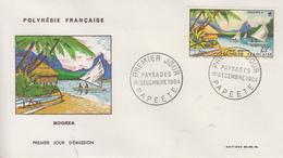 Enveloppe  FDC  1er Jour  POLYNESIE   Paysages  :  MOOREA   1964 - FDC