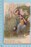 CPA Couple Lovers - Aimons Insouciant Et Joyeux, Doré Et Embosse - Used In 1909 Stamp  USA 1¢ - Fantaisies