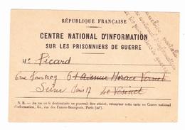 Carte En Franchise Militaire 1939 1945 - Centre National D'information Sur Les Prisonniers De Guerre - Military Service Stampless