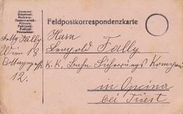 Feldpostkarte Wien Nach K.k. Bahn-Sicherungs Kompanie Opcina - 1916 (35635) - Brieven En Documenten