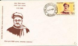 India FDC Gopal Krishna Gokhale 9-5-1966 With Cachet - FDC