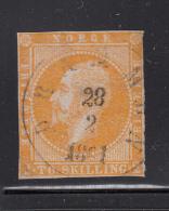 Norway 1856-57 Used Scott #2 2s King Oscar I CDS: Drammen 28 2 18?1 - Trimmed Perfs - Norvège