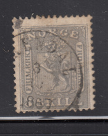 Norway 1863 Used Scott #7 3s Coat Of Arms Value Only At Left Cancel: Arendal? - Norvège