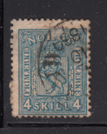 Norway 1867-68 Used Scott #14 4s Coat Of Arms Right AE Has Broken Top Line In E - Norvège