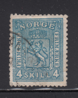 Norway 1867-68 Used Scott #14 4s Coat Of Arms - Norvège