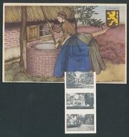 Leporello-AK Doorn, Frau Am Brunnen, Blick Auf Kirche, Strassenpartie Und Schloss, Wappen - Doorn
