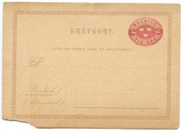 Sweden 19th C. 2ö. Three Crowns Postal Card Mint - Postal Stationery