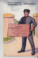 NP66. Novelty Card Newquay Telegram Boy 1914 - Greetings From...