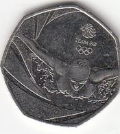 Great Britain UK 50p Coin  Olympics Swimming 2016 (Small Format) Circulated - 1971-… : Monedas Decimales
