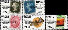 TONGA 1990 Stamp On Stamps  SPECIMEN SHORT SET:4 - Tonga (1970-...)