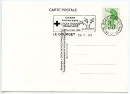 France 1988 Postcard 125th Anniversary Of French Red Cross W/ Le Bourget Slogan Cancel - Postmark Collection (Covers)