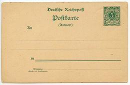 Germany 1890's Mint 5pf Crown Postal Reply Card Half - Germany