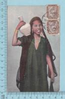 CPA - Le Caire Egypte, Jeune Fellah -  Used In 1907 Stamp Egypt 2 X Un Millieme Strip - Le Caire