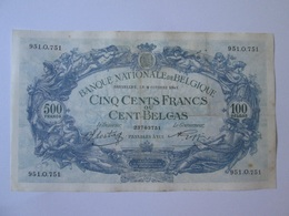 Belgium/Belgique 500 Francs/100 Belgas 1941 - [ 2] 1831-... : Belgian Kingdom