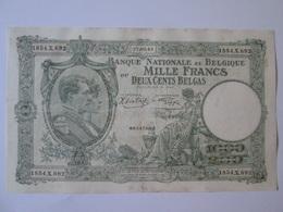 Belgium/Belgique 1000 Francs/200 Belgas 1943 - [ 2] 1831-... : Belgian Kingdom