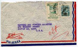 Uruguay 1948 Airmail Cover Montevideo To Boston MA W/ Scott 564 & C138 - Uruguay
