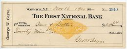 United States 1900 Scott RN-X7 Revenue Stamped Paper - Warwick NY, First National Bank - Revenues