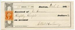 United States 1870 Received Receipt Boston, Massachusetts W/ Scott R15c - Revenues