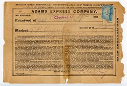 United States 1900 Freight Receipt Cleveland OH, Adams Express Co W/ Scott R229 - Revenues