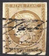 BEAU CERES N° 1b BISTRE-VERDÂTRE OBLITERE GRILLE SANS FIN COTE > 500 € - 1849-1850 Ceres