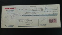 Timbres Fiscaux Timbre Fiscal Sur Lettre De Change Garage Renault Limoux 11 Aude 1942 Ref 143 - Lettres De Change