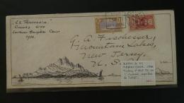 Lettre Cover Southern Hemisphere Cruise SS Franconia Cunard Line Océanie Flamme Daguin Tahiti 1934 - Lettres & Documents