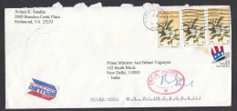 """U.S.A. 2000 """" TECH CHECK """"  Checked For Anthrax Cover Addressed To P.M. Of India  Sri Vajpayee   #  08642  D Inde Indien - United States"""