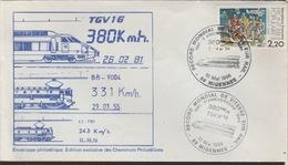 18 / 7 / 164 -  Enveloppe  1ER  JOUR  -  RECORD  MONDIAL  DE  VITESSE - 10 / 05 / 1986 )  -  T G V  16 - Timbres