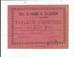 """ECOLE DES GARCONS DE VILLEBOURBON    """" Tableau D'honneur """" 1928 - Diplômes & Bulletins Scolaires"""