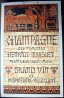 51 MESNIL  OGER  CHAMPAGNE HENRIOT MARGUET PUBLICITE CARTON ART NOUVEAU NEO BYZANTIN EDITEE PAR STERN VERS 1900 ALCOOL - Alcohols
