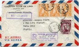 PEROU LETTRE RECOMMANDEE PAR AVION DEPART LIMA 8 ABR PERU POUR LA FRANCE - Peru