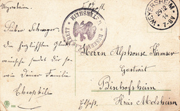 Feldpostkarte Avec Cachet RESERVE - LAZARETT * WEYERSHEIM * + TàD WEYERSHEIM DU 29.12.14 Adressée à Bischoffsheim - Postmark Collection (Covers)