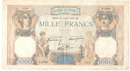Billet De 1000 Francs 11-4-1940 - 1 000 F 1927-1940 ''Cérès Et Mercure''
