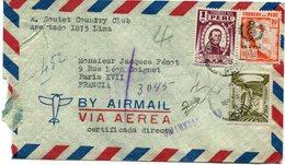 PEROU LETTRE PAR AVION DEPART LIMA ABR 30   8 PERU POUR LA FRANCE - Peru