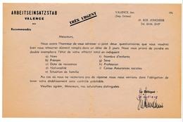 VALENCE (Drôme) - Service De Placement Allemand - Lettre à Entête Et Enveloppe - époque Occupation, Non Datée - Historische Documenten
