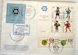 Schweiz Suisse 1974: INTERNABA Block 22 & UNO & Vignette Mit O BÂLE 15.6.74 CENTENARIUM UPU JOURNÉE DES NATIONS UNIES - U.P.U.