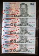 Thailand Banknote 50 Baht Series 15 Type II Completed Set Of 5 Signatures - Thailand