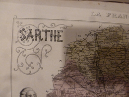 1880 SARTHE (Le Mans,La Flèche,Mamers,St-Calais,Loué,etc) Carte Géo-Descriptif,grav Taille Douce -Migeon ,géographe-édit - Cartes Géographiques