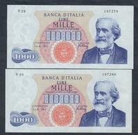 1000 Lire Verdi I° Tipo 10 08 1965  Esemplari Consecutivi Sup   LOTTO 1891 - [ 2] 1946-… : Républic